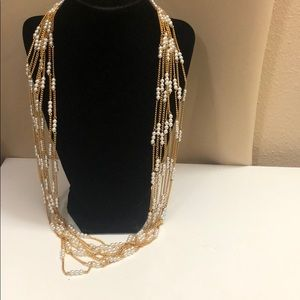 Vintage Multi strand pearl chain necklace